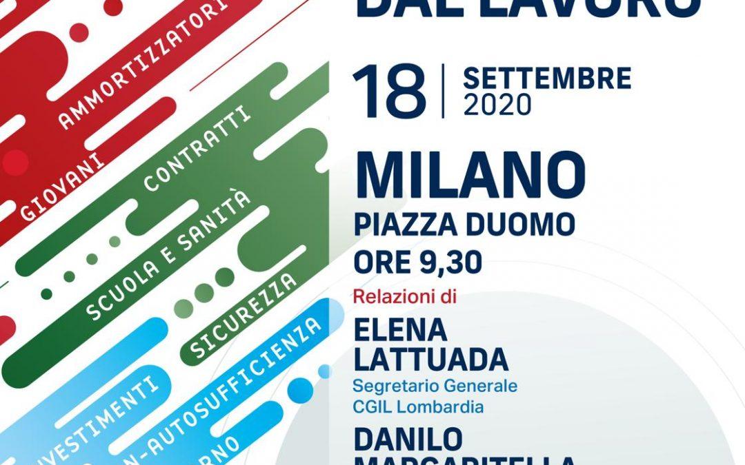 """Manifestazione nazionale """"Ripartire dal lavoro"""", una delegazione brianzola di Cgil, Cisl e Uil in piazza Duomo"""