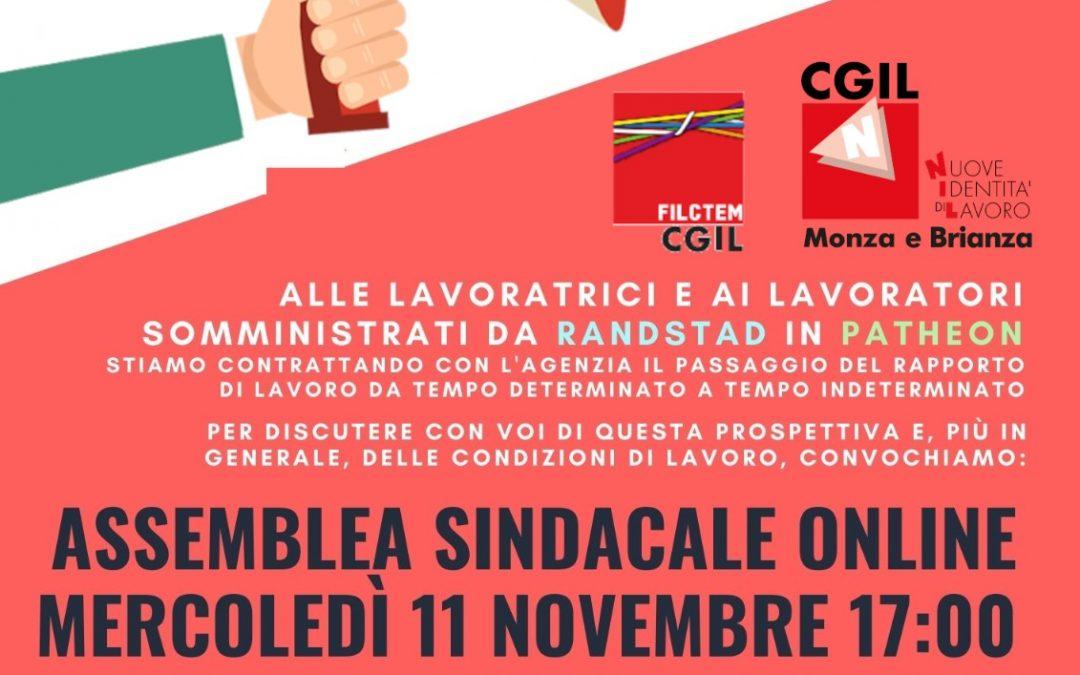Filctem e NIdiL, assemblea sindacale online per i lavoratori somministrati Randstad di Patheon