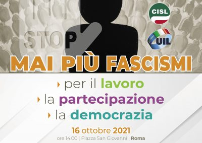 Mai più fascismi. Manifestazione a Roma di Cgil Cisl e Uil